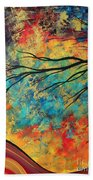 Abstract Art Original Landscape Painting Go Forth I By Madart Studios Beach Towel