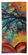 Abstract Art Original Landscape Painting Go Forth II By Madart Studios Beach Towel