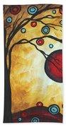 Abstract Art Original Metallic Gold Landscape Painting Freedom Of Joy By Madart Beach Towel