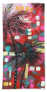 Abstract Art Original Tropical Landscape Painting Fun In The Tropics By Madart Beach Towel by Megan Duncanson