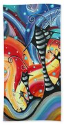 Abstract Art Whimsical Cityscape Funky Houses Homeland By Madart Beach Towel by Megan Duncanson