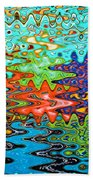 Abstract Background With Bright Colored Waves 1 Beach Towel