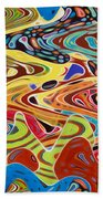 Abstract Background With Bright Colored Waves 17 Beach Towel