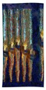 Abstract Blue And Gold Organ Pipes Beach Towel