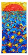 Abstract Blue Poppies In Sunrise -original Oil Painting Beach Towel