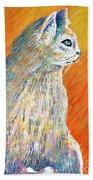 Jazzy Abstract Cat Beach Towel