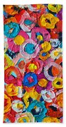 Abstract Colorful Flowers 1 - Paint Joy Series Beach Towel
