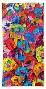 Abstract Colorful Flowers 3 - Paint Joy Series Beach Towel
