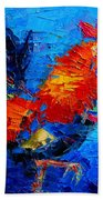 Abstract Colorful Gallic Rooster Beach Towel