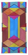 Abstract Colorful Stained Glass Window Design  Beach Towel