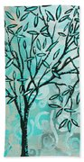 Abstract Floral Birds Landscape Painting Bird Haven II By Megan Duncanson Beach Towel
