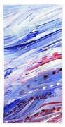 Abstract Floral Marble Waves Beach Towel