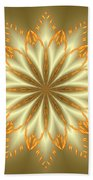 Abstract Flower In Gold And Silver Beach Towel