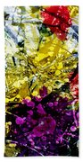 Abstract Flowers Messy Painting Beach Towel