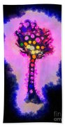 Abstract Glowball Tree Beach Towel by Pixel Chimp