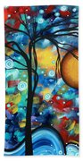Abstract Landscap Art Original Circle Of Life Painting Sweet Serenity By Madart Beach Towel