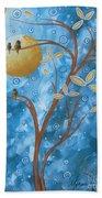 Abstract Landscape Bird Painting Original Art Blue Steel 1 By Megan Duncanson Beach Towel