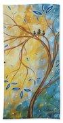 Abstract Landscape Bird Painting Original Art Blue Steel 2 By Megan Duncanson Beach Towel