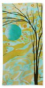 Abstract Landscape Painting Animal Print Pattern Moon And Tree By Madart Beach Towel