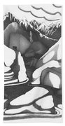 Abstract Landscape Rock Art Black And White By Romi Beach Towel