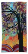 Abstract Landscape Tree Art Colorful Gold Textured Original Painting Colorful Inspiration By Madart Beach Towel
