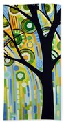 Abstract Modern Tree Landscape Spring Rain By Amy Giacomelli Beach Towel