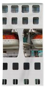 Abstract Of Lifeboats On A Large Cruise Ship Beach Towel
