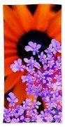 Abstract Orange And Purple Flower Beach Towel