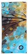 Abstract Painting Chocolate Brown Whimsical Landscape Art Baby Blues By Madart Beach Towel