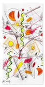 Abstract Pen Drawing Fifty-five Beach Towel