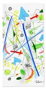 Abstract Pen Drawing Fifty-three Beach Towel