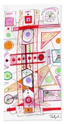 Abstract Pen Drawing Fifty-two Beach Towel