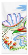 Abstract Pen Drawing Forty-four Beach Towel