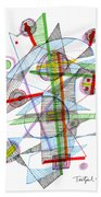 Abstract Pen Drawing Forty-nine Beach Towel