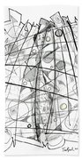 Abstract Pen Drawing Sixty-eight Beach Towel