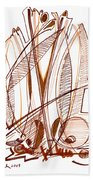 Abstract Pen Drawing Sixty-four Beach Towel