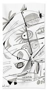 Abstract Pen Drawing Sixty-seven Beach Towel