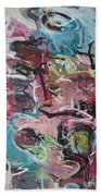Abstract Pink Blue Painting Beach Towel