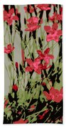 Abstract Red Flowers Beach Towel
