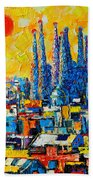 Abstract Sunset Over Sagrada Familia In Barcelona Beach Towel