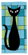 Abstract With Cat In Blue Beach Towel