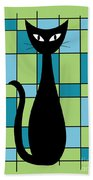 Abstract With Cat In Green Beach Towel