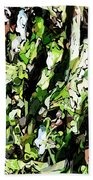 Abstraction Green And White Beach Towel