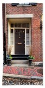 Acorn Street Door And Lamp Beach Towel