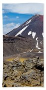 Active Volcanoe Cone Of Mt Ngauruhoe New Zealand Beach Towel