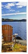 Adirondack Chairs At Lake Shore Beach Towel