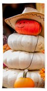 Adorable Cowboy Pumpkin Figures Made From Pumpkins Beach Towel