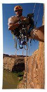 Adventure Racer Rappelling Over A River Beach Towel