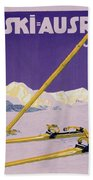 Advertisement For Skiing In Austria Beach Towel