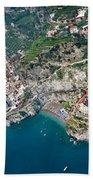 Aerial View Of A Town, Atrani, Amalfi Beach Towel